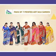 Pack of 7 Printed Art Silk Sarees by Pakhi (7AS1)
