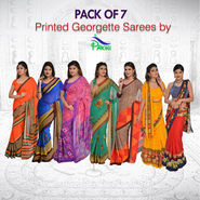 Pack of 7 Printed Georgette Sarees by Pakhi (7G40)