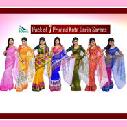 Pack of 7 Printed Kota Doria Net Sarees by Pakhi (7K2)