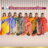 Pack of 8 Assorted Printed Art Silk Sarees by Pakhi (8A1)