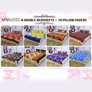 Pack of 8 Double Bedsheets + 16 Pillow Covers (8BS)
