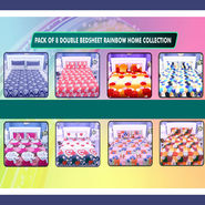 Pack of 8 Double Bedsheets Rainbow Home Collection + 16 Pillow Covers (8BS10)