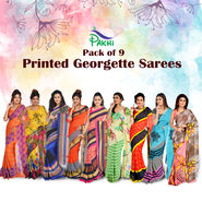 Pack of 9 Printed Georgette Sarees by Pakhi (9G12)