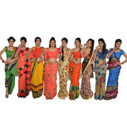 Pack of 9 Printed Georgette Sarees by Pakhi (9G8)