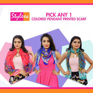 Pick Any 1 Coloured Pendant Printed Scarf by Stylexa (1SP1)