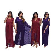 Pick Any 1 Pack of 4 Pcs Satin Nightwear Combo