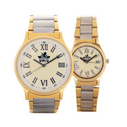 Platinum & Gold Men's & Ladies Watch Set