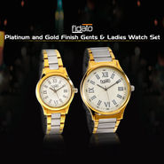 Platinum and Gold Finish Gents & Ladies Watch Set