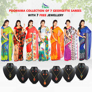 Poornima Collection of 7 Georgette Sarees by Pakhi (7G24) with 7 Free Jewellery