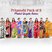 Priyanshi Pack of 9 Printed Georgette Sarees (9G5)