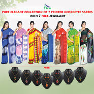 Pure Elegant Collection of 7 Printed Georgette Sarees by Pakhi (7G19) with 7 Free Jewellery