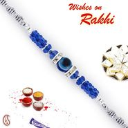 Blue & Silver Beads Rakhi with Evil Eye
