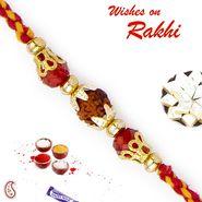 Enchanting Rudraksh Rakhi with Red Beads
