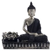 Silver & Black Finish Beautiful Buddha Showpiece-REF1537