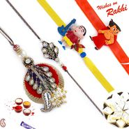 Lovely Zardosi Work Family Rakhi Set with Chhota Bheem & Shinchan Kids Rakhis
