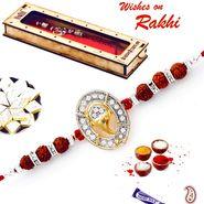 Rudraksha & AD Studded Ganesh Motif Rakhi