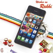 Multicolor Band Kids Rakhi with Mobile Motif