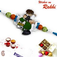 Green & Orange Beads Ben10 Kids Rakhi