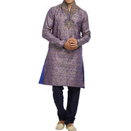 Runako Silk Full Sleeves Kurta Pyjama_RK4082 - Purple Golden