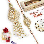 Jewellery Style AD Studded Bhaiya Bhabhi Rakhi Set
