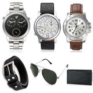 Combo of 3 Rico Sordi Stylish Mens watches_RSD88_WWSGB + Wallet + Sunglasses + Belt