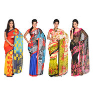 Radhika Pack of 4 Printed Georgette Sarees (7G27A)