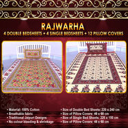 Rajwarha 4 Double & 4 Single Bedsheets with 12 Pillow Covers (4DSBS10)