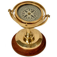 Real Brass Spinning Compass With Wooden Base 247