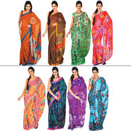 Resham Set of 8 Satin Patta Sarees (8S2)