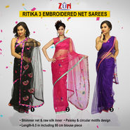 Zuri Ritika 3 Embroidered Net Sarees (3N2)