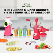 Royal Chef 3 in 1 Juicer Mincer Grinder + 4 in 1 Drum Slicer Shredder