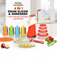 Royal Chef 4 in 1 Drum Slicer & Shredder + Free 4 Storage Containers + Spiral Cutter
