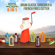 Royal Chef 6 in 1 Drum Slicer, Shredder & French Fries Cutter