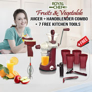 Royal Chef Fruits & Vegetable Juicer + Handblender Combo + 7 Free Kitchen Tools