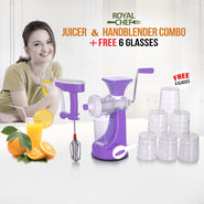 Royal Chef Juicer & Handblender Combo + Free 6 Glasses