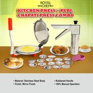 Royal Chef Kitchen Press + Puri, Chapati Press Combo