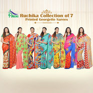 Ruchika Collection of 7 Printed Georgette Sarees by Pakhi (7G29)