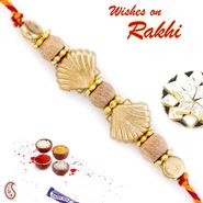 Stylish Golden Motif & Sandalwood Beads Rakhi