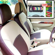 Samsun Car Seat Cover for Chevrolet Spark  - Beige & Brown