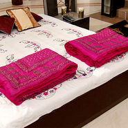Sanganeri Set of 2 Cotton AC Quilt with Gold Print
