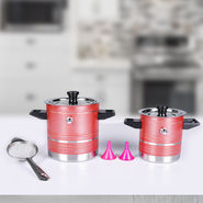 Set of 2 Colored Milk Boiler with Strainer