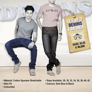 Set of Two Denims for Men by Mr. Tusker - Dark Blue & Black