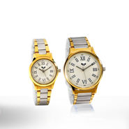 Set of 2 Platinum & Gold Finish Watches