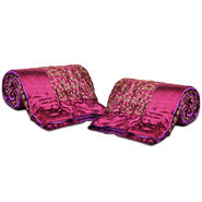Set of 2 Purple Jaipuri Silk Razai with Gold Prints