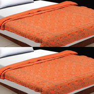 Set of 2 Orange Jaipuri Cotton Razai with Gold Prints