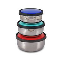 Set of 3 Stainless Steel Push & Lock Containers