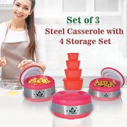 Set of 3 Steel Casserole with 4 Storage Set