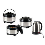 Set of 3 Stainless Steel Casseroles with Free Electric Kettle