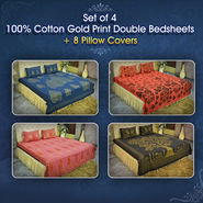 Set of 4 100% Cotton Gold Print Double Bedsheets + 8 Pillow Covers (4DDBS10)