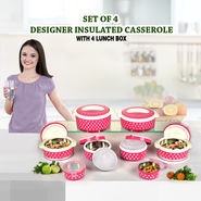 Set of 4 Designer Insulated Casserole with 4 Lunch Box